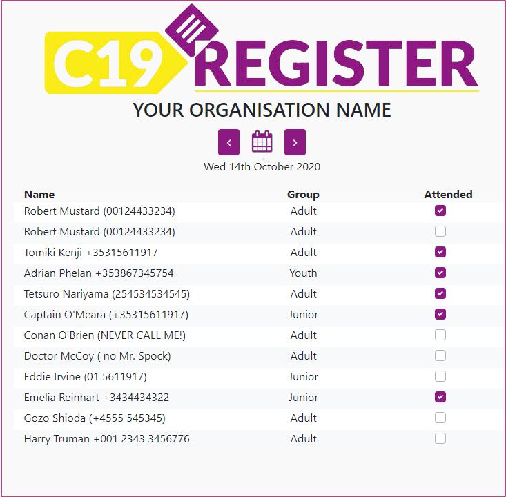 Covid-19 visitor registration & attendance list